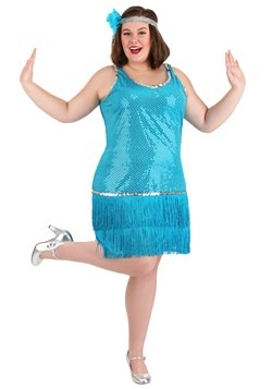 Plus Size Sequin & Fringe Turquoise Flapper Costume new mai