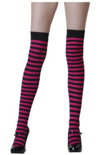 Black and Fuchsia Striped Stockings
