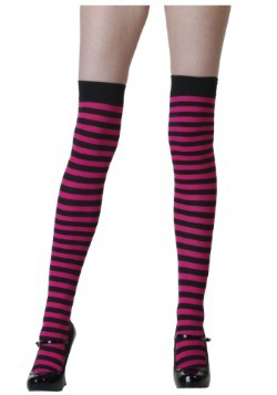 Black and Fuchsia Striped Stockings