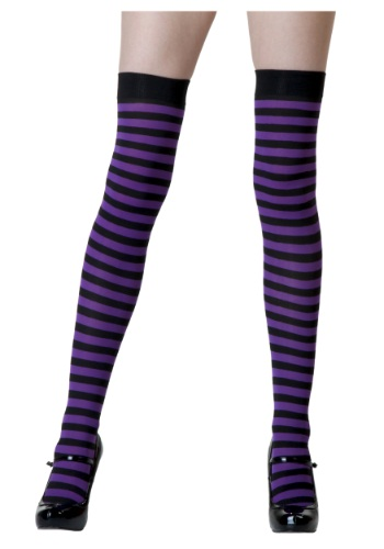 Black/Purple Striped Stockings