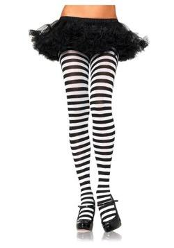 Plus Size Black / White Striped Tights