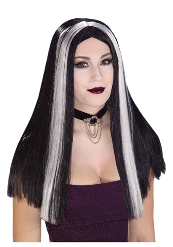 Long Black and White Streaked Wig