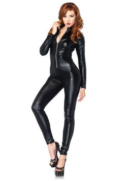 Sexy Black Zipper Catsuit