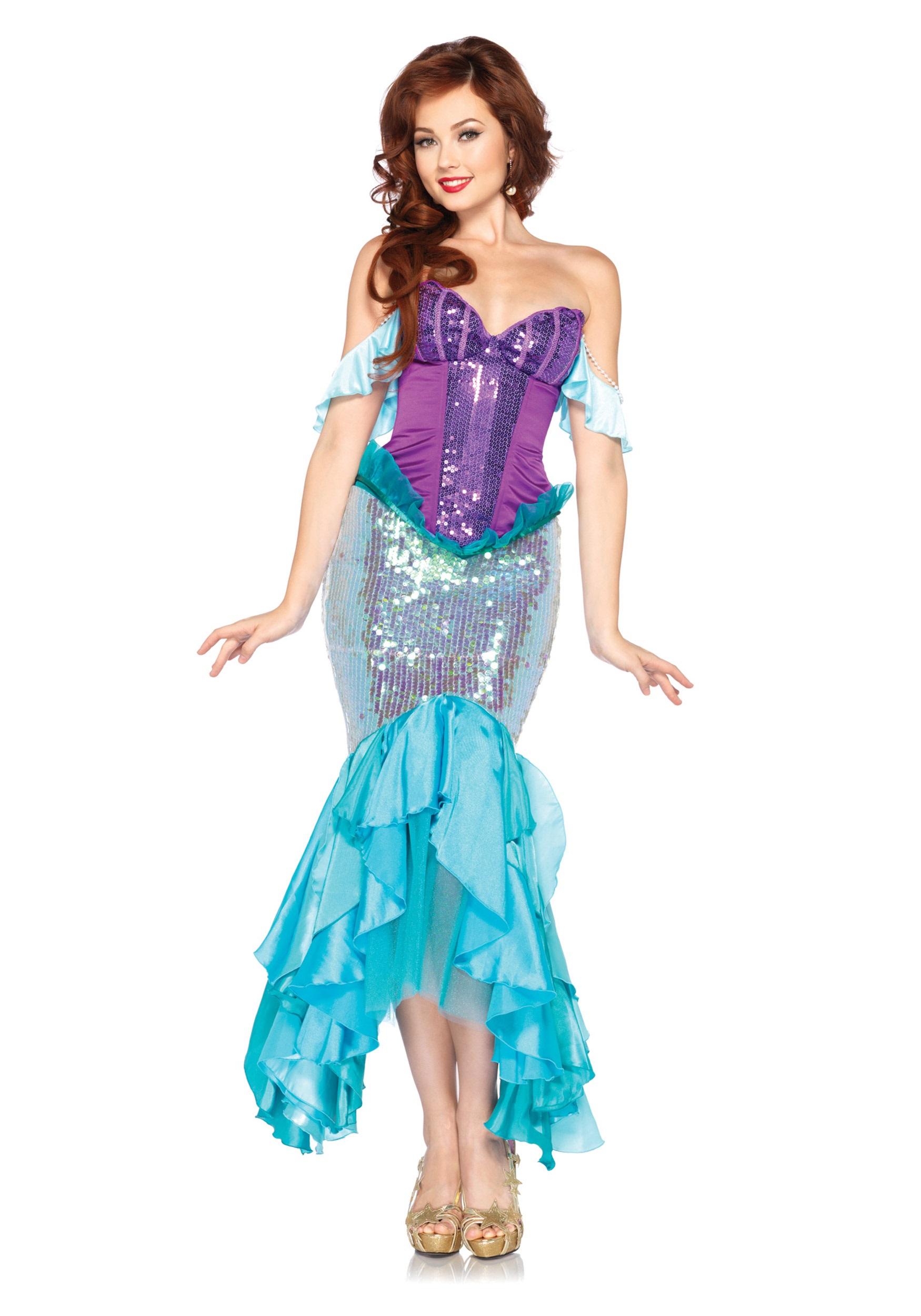 Womens Disney Deluxe Ariel Costume  sc 1 st  Halloween Costumes UK & Womenu0027s Disney Deluxe Ariel Costume