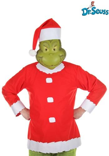 Adult Grinch Costume Top Hat and Half Mask