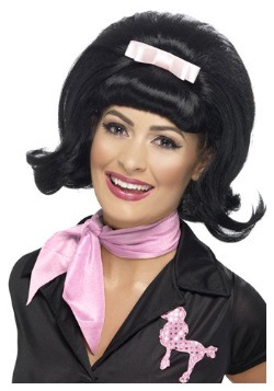 50s Flicked Beehive Black Wig