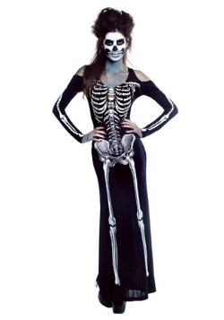 Womens Bone Appetit Skeleton Long Dress Costume