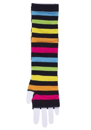 80's Rainbow Striped Gloves