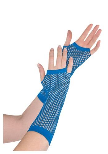 Blue Fishnet Long Gloves