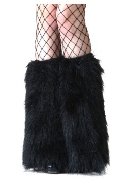 Adult Black Furry Boot Covers