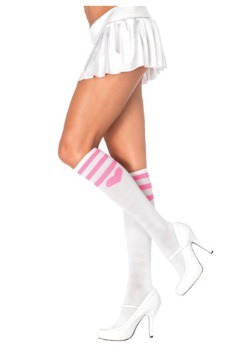 Pink Heart Socks White