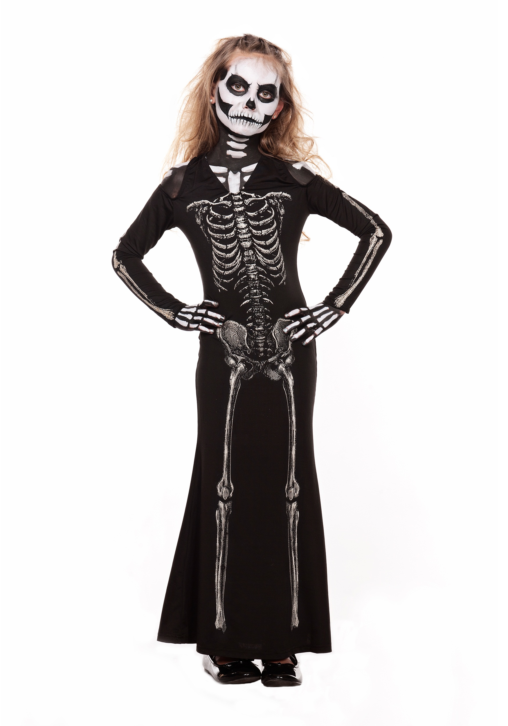 INOpets.com Anything for Pets Parents & Their Pets Girl's Skeleton Sweetie Maxi Dress Costume