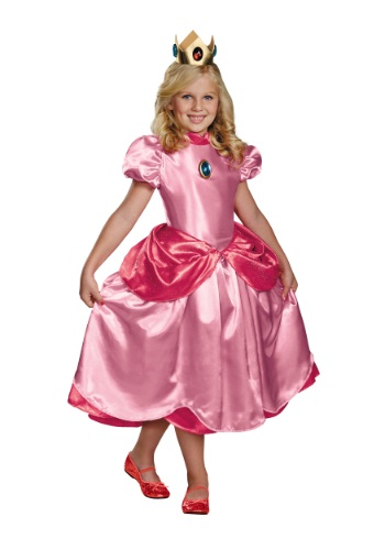 Girls Deluxe Princess Peach Costume