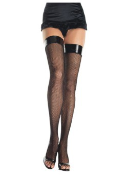 Fishnet Stockings with Vinyl Tops