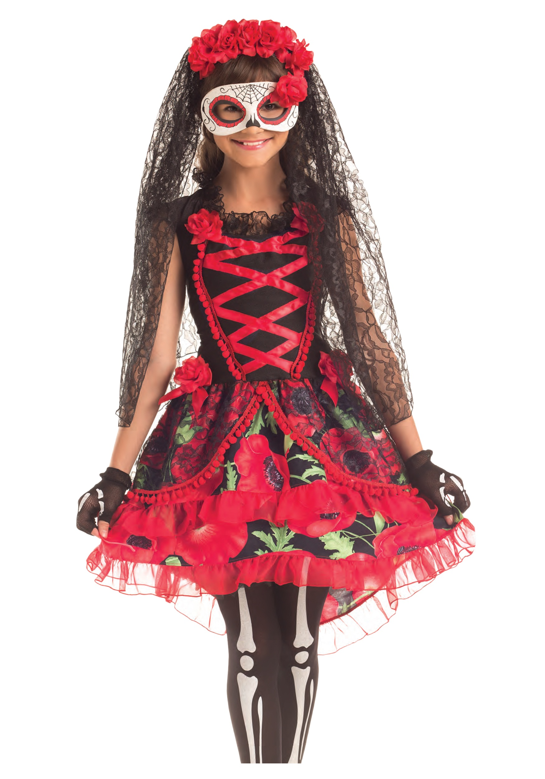 INOpets.com Anything for Pets Parents & Their Pets Child Day of the Dead Senorita Costume