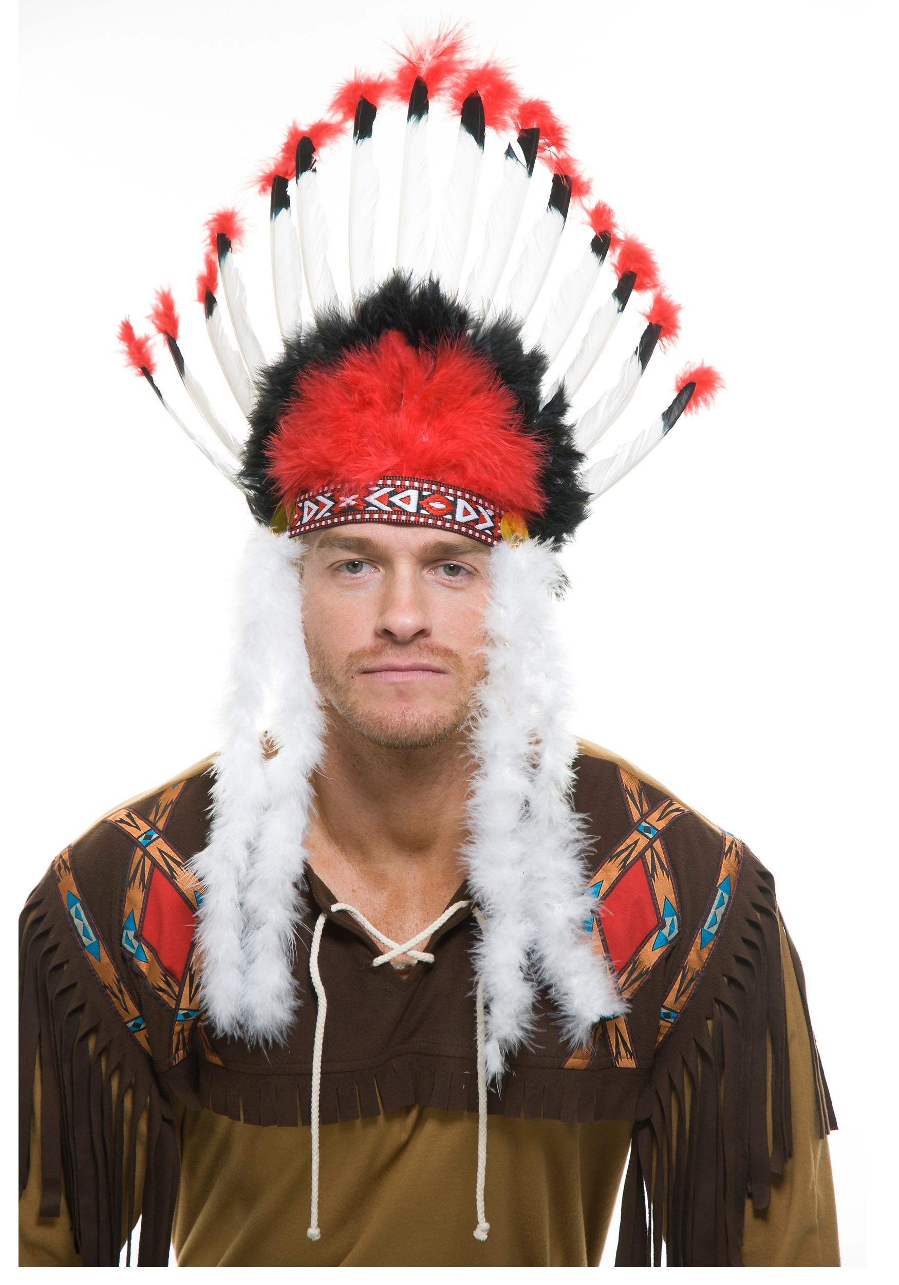 Kostüme & Verkleidungen Indian Headdress Chief Hat Mens Fancy Dress