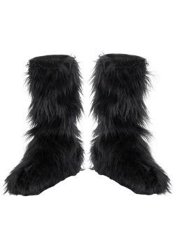 Kids Black Furry Boot Covers