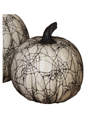 11.4 Inch White Resin Halloween Pumpkin with Spider Web Lace