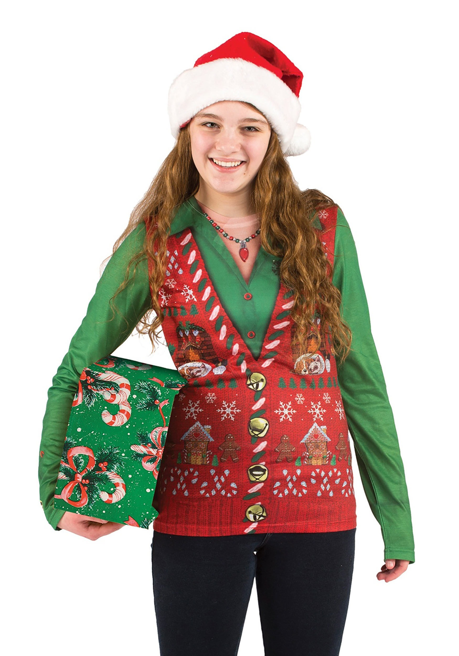 INOpets.com Anything for Pets Parents & Their Pets Women's Ugly Christmas Sweater Vest