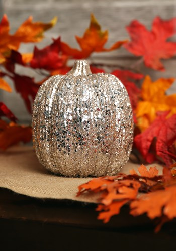 5 Inch Champagne Glitter Pumpkin