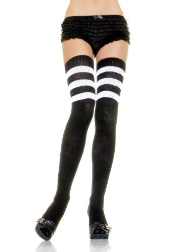 Black Athletic Socks with White Stripes