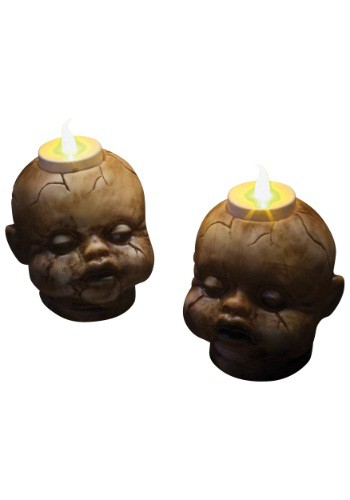 Cracked Dollhead Tealight Set