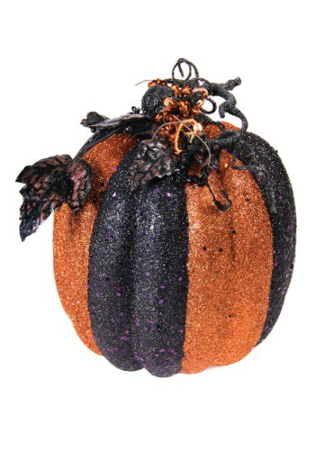 """9"""" Orange & Black Striped Glitter Pumpkin"""