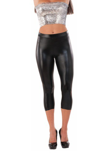 Women's Black Metallic Sheen Leggings