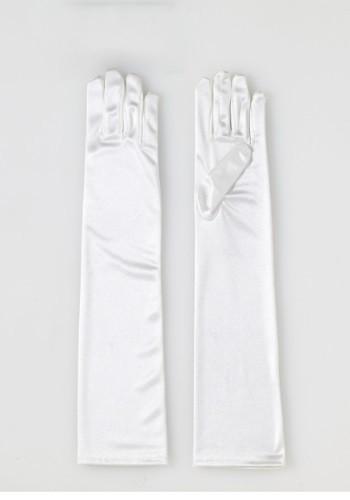 Adult Long Beige Satin Gloves