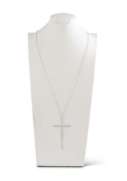 "Matte Silver Elongated Cross on 36"" Chain"