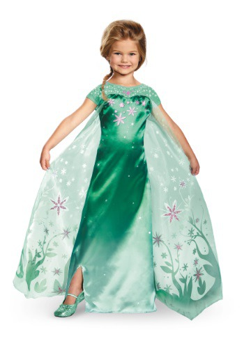 Girls Deluxe Frozen Fever Elsa Costume