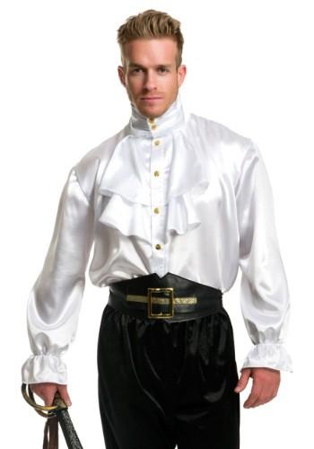 Mens White Satin Ruffle Shirt