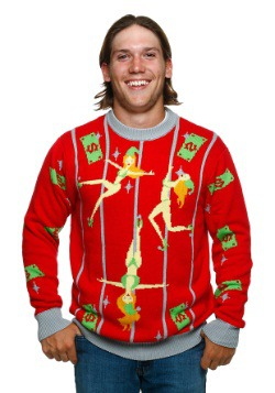 Pole Dancing Elves Ugly Christmas Sweater