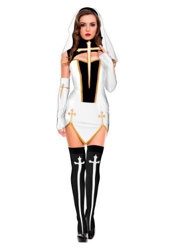 Women's White Bad Habit Nun Costume