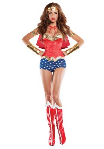 Women's Corseted Wonder Lady Costume