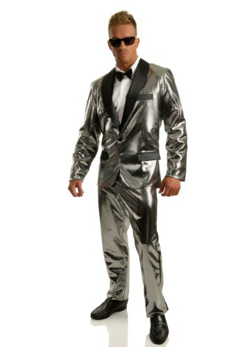 Men's Silver Disco Ball Tuxedo Costume