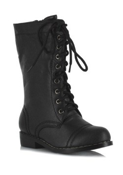 Kids Black Military Boots
