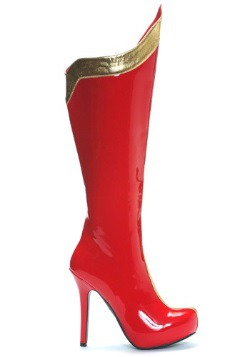 Sexy Red and Gold Superhero Boots