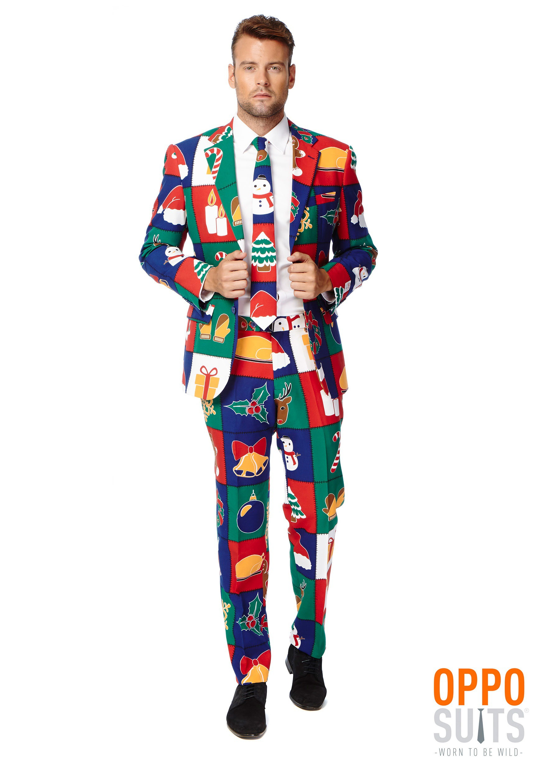 INOpets.com Anything for Pets Parents & Their Pets Men's Quilty Pleasure Holiday Opposuit Costume