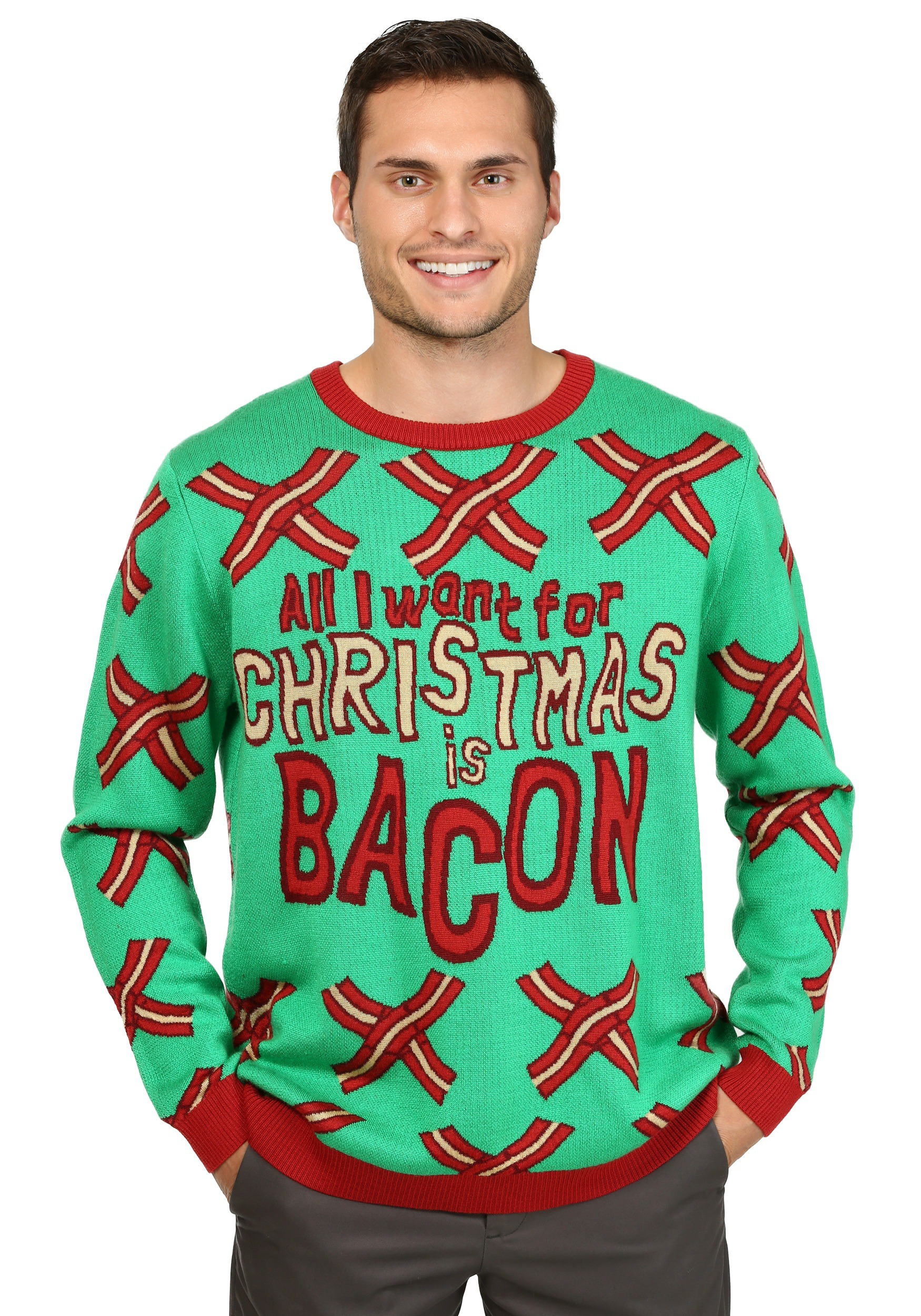 4cd63dac1175 All I Want for Christmas is Bacon Ugly Christmas Sweater