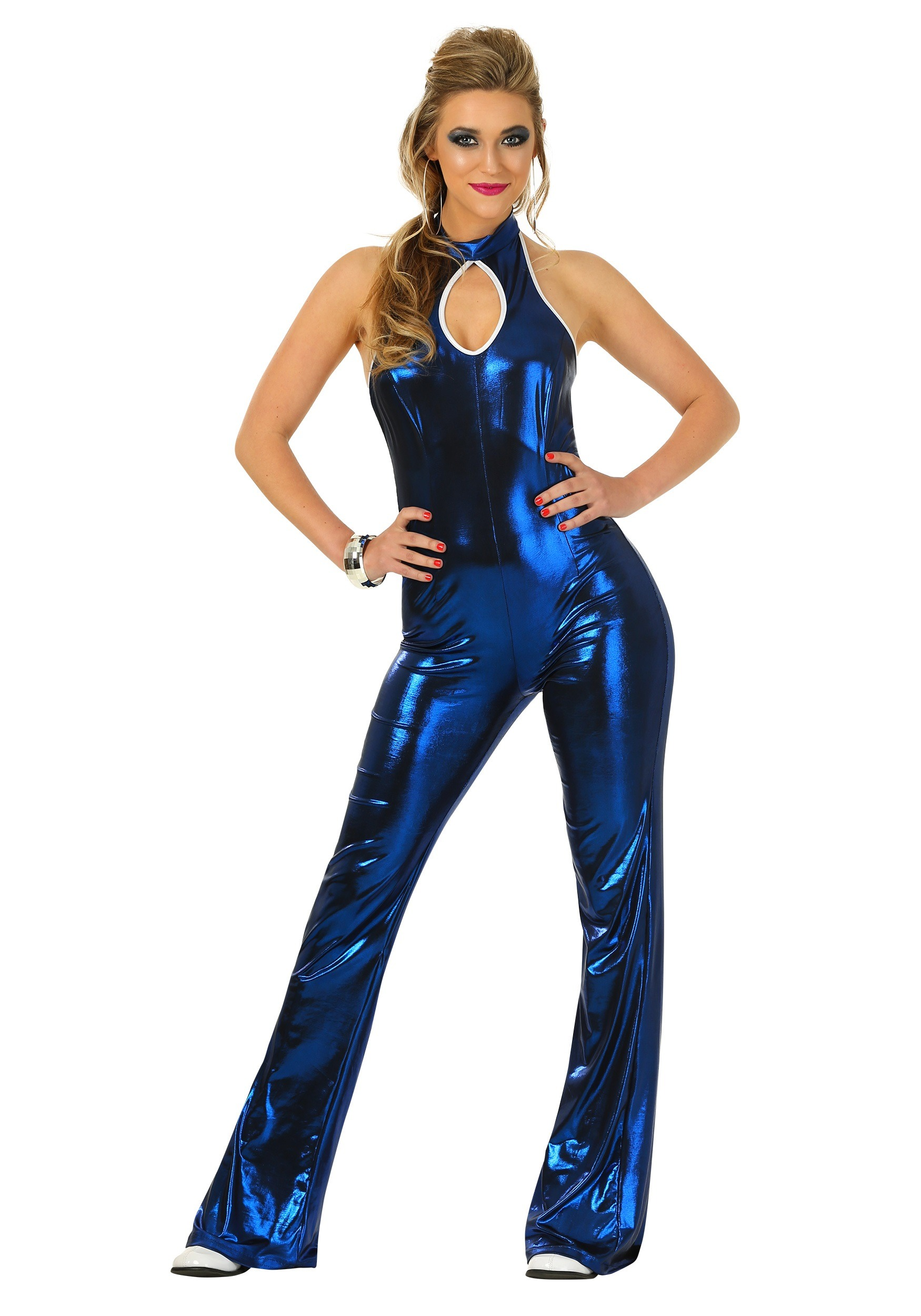 Womens 70s Disco Fever Jumpsuit Costume