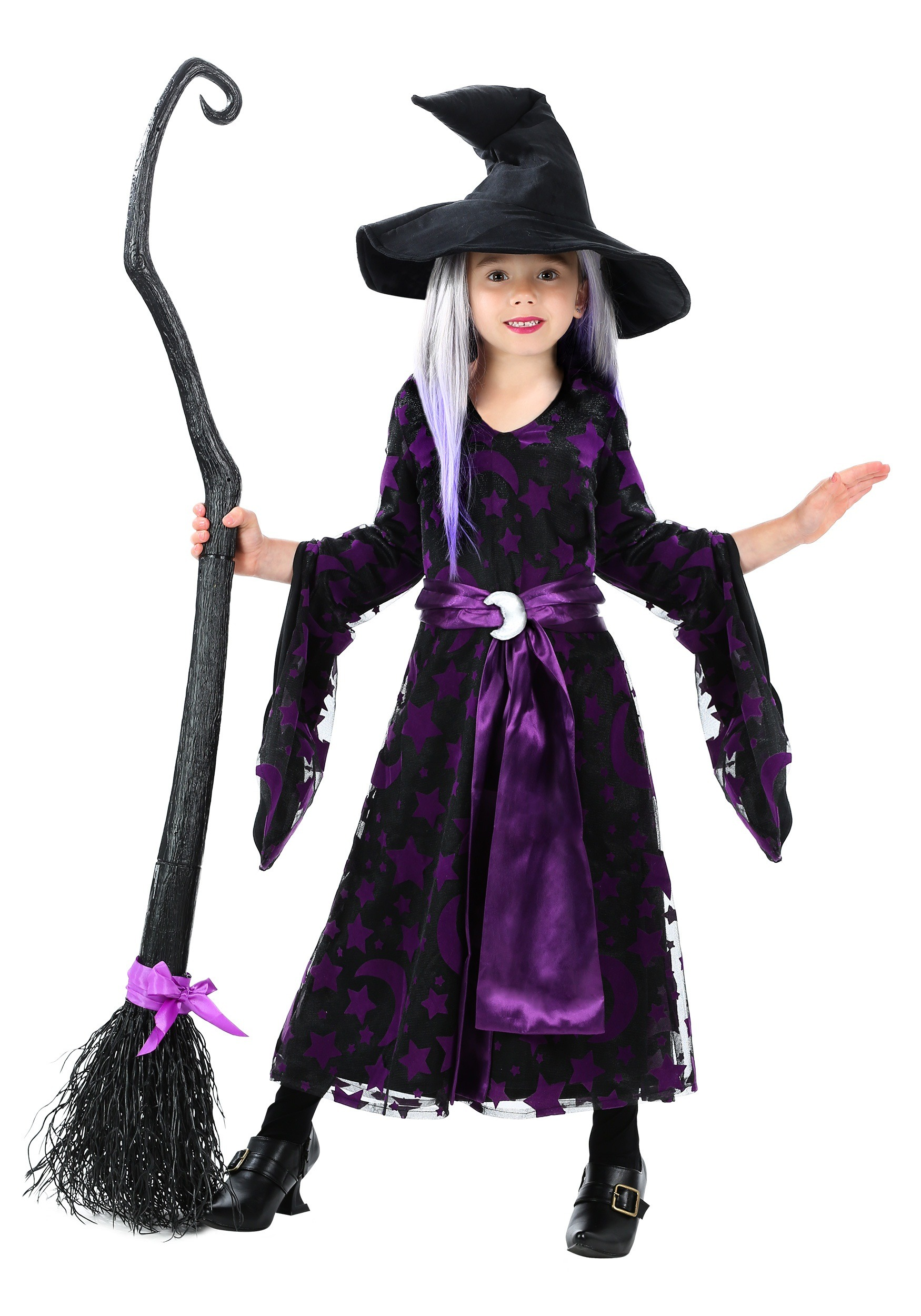 Toddler Girls Purple Moon Witch Costume-4327