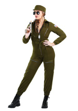 Plus Size Women's Army Flightsuit Costume