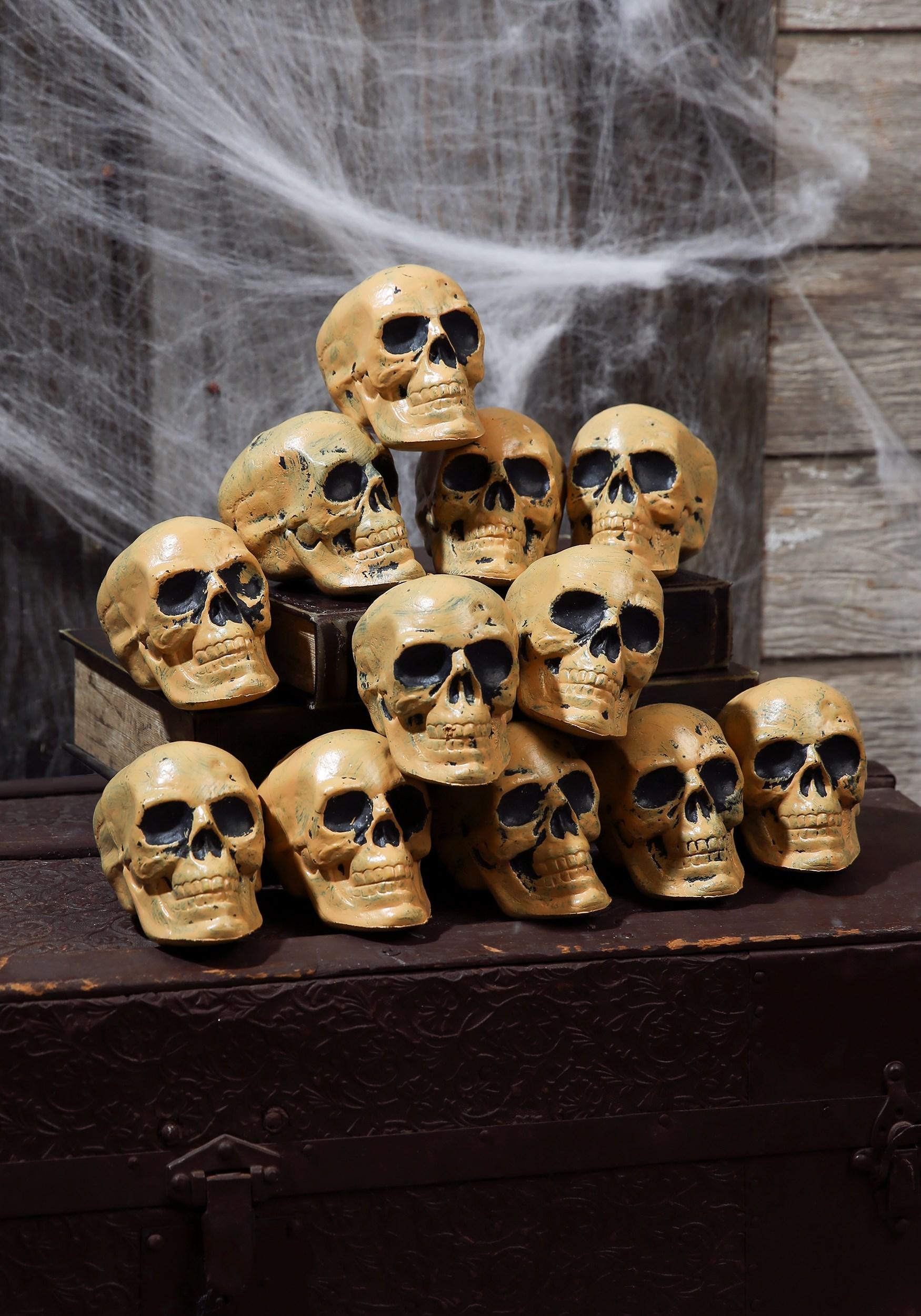 12 Pc. Bag Of Skulls - Skeleton Accessories, Graveyard Decorations