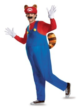 Plus Size Adult Deluxe Mario Raccoon Costume