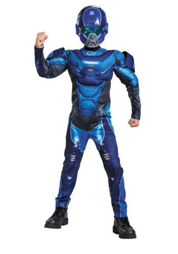 Child Halo Blue Spartan Muscle Chest Costume