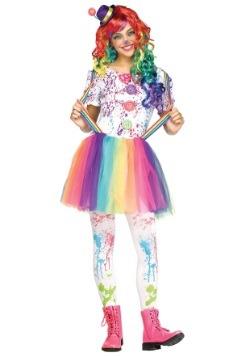 Teen Crazy Color Clown Costume