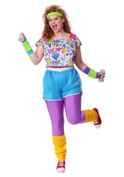 Women's Plus Size Work It Out 80's Costume