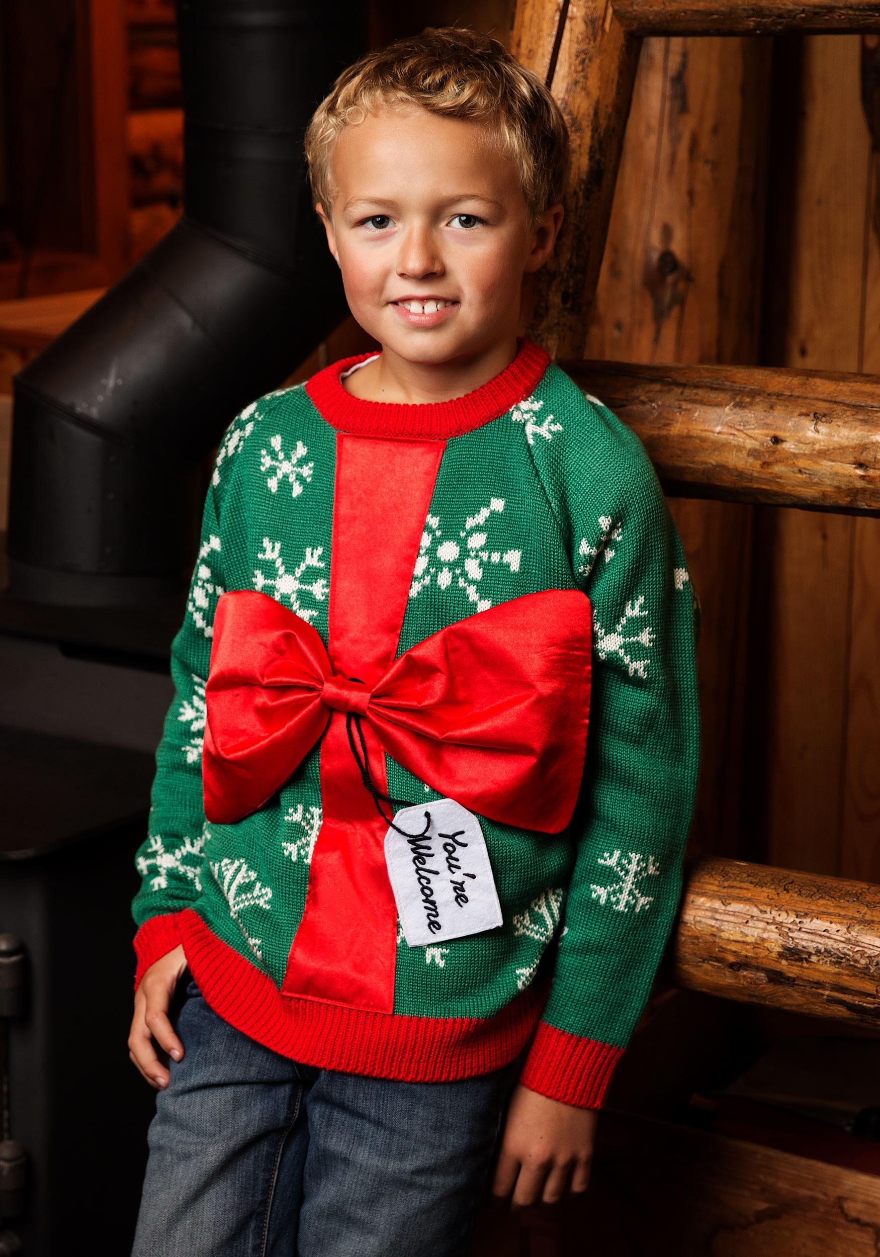 Ugly Christmas Sweater Kids.Kid S Present Ugly Christmas Sweater