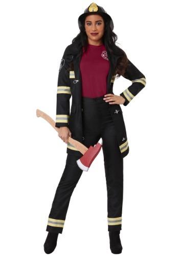 Plus Size Women's Black Firefighter Costume